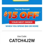 $15 off When You Spend $60 or More @ Catch