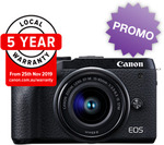 Canon EOS M6 MKII Mirrorless Camera w/ 15-45mm Lens, 5 Year Warranty & Bonus 22mm Lens - $1475 @ VideoPro Online