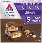 Atkins Endulge Caramel Nut Chew Bars | Keto Friendly Bars | 5x 34g Low Carb $6.75 + Delivery ($0 with Prime/ $39 Spend) @ Amazon