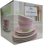 House & Home 12 Piece Reactive Ribbed Dinnerset- Pink $15 (Save $34) + Delivery ($0 C&C) @ Big W
