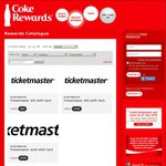 Coke Rewards - Ticketmaster: ($20) 400 Points, ($50) 1000 Points, ($100) 2000 Points