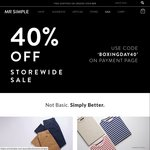 40% off Storewide - Mr Simple - Free Shipping on Orders over $49
