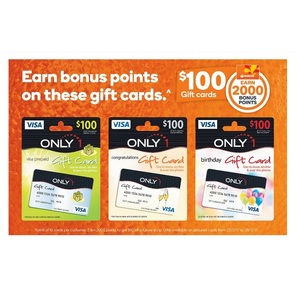 2000 Bonus Points Worth 10 With 100 Only1 Visa Gift Cards 10595 At Woolworths For Rewards Members