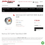 NASHUA 357 GAFFER TAPE BLACK 40M $16.50 / Free Pickup SYD/MEL or $13.50 Shipping @ John Barry