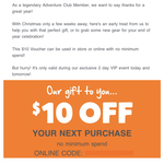 $10 OFF No Minimum Spend - Check Your Email [Membership Required] @ Anaconda (Online & Instore)