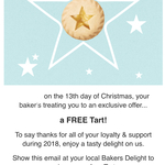 Free Fruit Mince or Lemon Tart @ Bakers Delight (No Purchase Required, Email Subscribers)