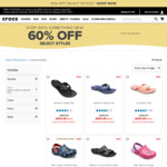 60% off Select Styles + Free Delivery with Promo Code @ Crocs