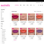 Selected Lip Products $2 + $9.95 Shipping/Free with $50 @ Australis Cosmetics
