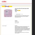 ½ Price Clara Female Sanitary from $1.25 @ Coles
