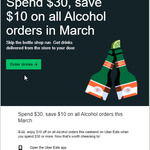 Spend $30, Save $10 on All Alcohol Orders in March @ UberEATS