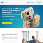 6 Weeks Free on HIF Hospital + Extras Health Insurance Cover & 2-Month Waiting Period Waiver @ HIF