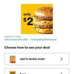 $2 Big Mac, $3 Quarter Pounder, $1 Thickshakes, $1 Fries, $8 for 2 Small Big Mac Meals & More @ McDonald's via mymacca's App