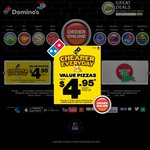 Domino's: Any 3 Pizzas + Cheesy Garlic Bread + 1.25l Coke Pickup at $21.95 until 23 July
