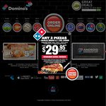 Domino's - Any 3 Pizzas + Garlic Bread + 1.25lt Drink$22.95Pick up. Expires 23/10