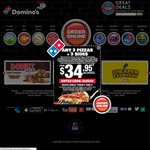 Domino's: Any 3 Pizzas + Garlic Bread + 1.25l Drink $22.95 Pickup until 19/1