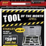 40% Off Stanley 69 Piece Socket Set for $59.99 Free Postage @ Supercheap Auto