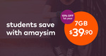 Amaysim 10% off 1st Year on all UNLIMITED Plans for Students (e.g. Unlimited + 7GB Data $36)