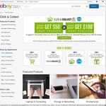 eBay Click & Collect at Woolworths or Big W - Spend $150 Get $50 Voucher or Spend $300 Get $100 Voucher