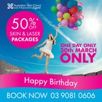 50% off Laser & Skin Packages @ Australian Skin Clinics (Fountain Gate VIC)