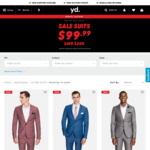 Select Mens Suits on Sale for $99.99 Delivered @ yd (Online Only)
