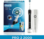 Oral-B Pro 2 2000 Electric Toothbrush (Black) + Bonus Travel Case $79.20 (Free C&C or + Delivery) @ The Good Guys eBay