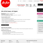 20% off All Air Asia Flights Eg $217 One Way from SYD to KUL (21% off) or in Premium Flatbed for $1126.05 (20% off)