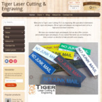 Tiger Laser Cutting & Engraving 20% off Storewide Sale on All Signs / Plaques via Checkout Coupon. Free Aust Shipping