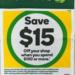 [QLD] $15 off $100 Minimum Spend (Barcode Required) @ Woolworths (Eight Mile Plains, Garden City, Springwood, Underwood)