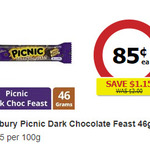 Cadbury Picnic Dark Chocolate Feast Bars 46g $0.85 (Was $2) @ Coles