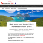 Lord Howe Island from Sydney Return 16,000 QFF Points + $171.44 in Taxes @ Qantas