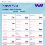 Virgin Australia Happy Hour: BNE <> SYD $99, SYD <> ADL $119, PER <> SYD $199 and More