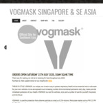 Vogmask Anti Pollution N95 Non-Valved Masks S$43.90 (~A$45) + S$19 (~A$20) DHL Shipping @ Vogmask Singapore