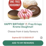 Get 1 Free Krispy-Kreme Doughnut on Your Birthday Month via App @ 7-Eleven (Excludes SA)