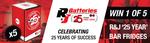 Win 1 of 5 R&J Batteries 25th Anniversary Bar Fridges Worth $380 from Speedcafe