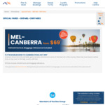 Melbourne (MEL) ⇆ Canberra (CBR) $69 Each Way @ Rex and Virgin Australia