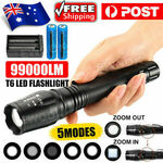 [eBay Plus] 99000LM Super Bright Police Tactical Flashlight T6 LED Torch Light & Charger $1.45 Delivered @ ewook2014 eBay