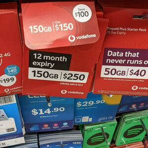 Vodafone $250 Prepaid Plus Starter Pack for $150 in-Store @ Woolworths