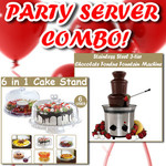 Party Server Combo! Stainless Steel Chocolate Fondue Fountain + 6in1 Cake Stand $39.99 Free Ship