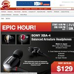 Sony XBA-4 Earphones $129 @Shoppingexpress This Deal Will Start at 8PM-9PM Sunday 21 July 2013