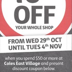 10% off Your Whole Shop at Coles, East Village, Zetland (NSW) - Min. Spend $50
