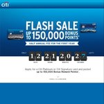 Citi Rewards: 150,000 Points with Signature & Platinum Visas, Annual Fee: 1st Yr: $124, 2nd Yr: $248