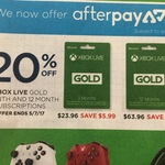20% off Xbox Live Gold 12 Month ($63.96) & 3 Month ($23.96) at Big W in-Store