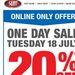 Supercheap Auto - Flash 20% Sale - 18/07/17 Online Purchases Only