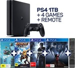 PlayStation 4 1TB Slim Console + 4 Games + Media Remote for $399.20 + $4.95 Postage @ EB Games eBay Store w/ Code