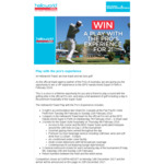 Win a Helloworld Travel Play with the Pro's Experience in Perth for 2 Worth $3,596 from Helloworld
