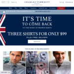 Charles Tyrwhitt - 3 Shirts for $99 + Free Delivery (for Orders $99 and over)