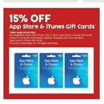 15% off iTunes Gift Cards @ Target In store