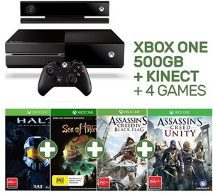 Xbox One 500GB + Kinect + 2 or 4 Games for $249 @ EB Games +