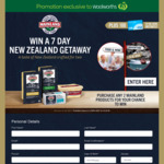 Win 1 of 3 Trips to New Zealand or 1 of 100 Instant Win $100 VISA Cards (Purchase 2x Mainland Products at Woolworths)