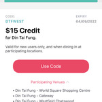 [NSW] Get $15 Credit @ Din Tai Fung via Liven App (New Users)